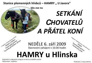 """Stanice plemenných hřebců – HAMRY """" U Javora"""" Vás zve na"""