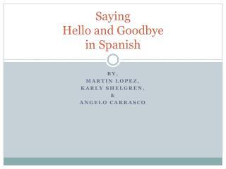 Saying Hello and Goodbye  in Spanish