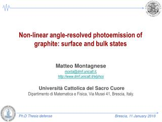 Non-linear angle-resolved photoemission of graphite: surface and bulk states