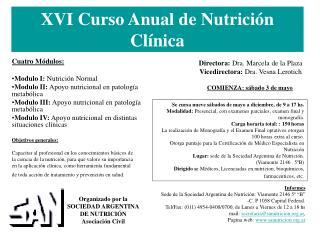 XVI Curso Anual de Nutrición Clínica