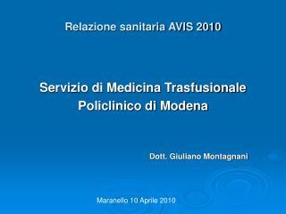 Relazione sanitaria AVIS 2010