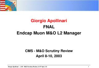 Giorgio Apollinari FNAL Endcap Muon M&O L2 Manager CMS - M&O Scrutiny Review April 8-10, 2003