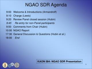 NGAO SDR Agenda