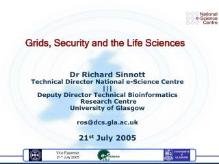 Grids, Security and the Life Sciences
