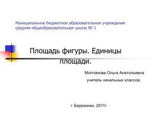 Муниципальное бюджетное образовательное учреждение средняя общеобразовательная школа № 1