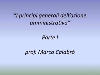 """""""I principi generali dell'azione amministrativa"""" Parte I prof. Marco Calabrò"""