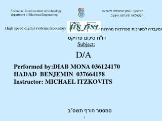 Performed by:DIAB MONA 036124170                HADAD  BENJEMIN  037664158