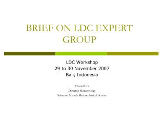 BRIEF ON LDC EXPERT GROUP