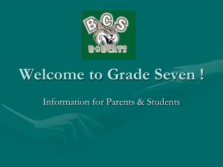 Welcome to Grade Seven !