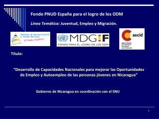 Fondo PNUD España para el logro de los ODM Línea Temática:  Juventud, Empleo y Migración.