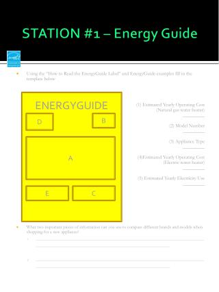 STATION #1 � Energy Guide