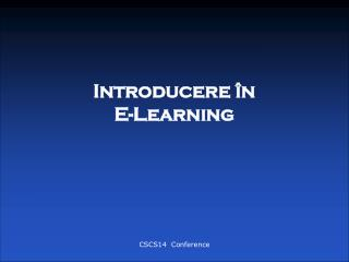 Introducere �n  E-Learning