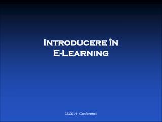 Introducere în  E-Learning