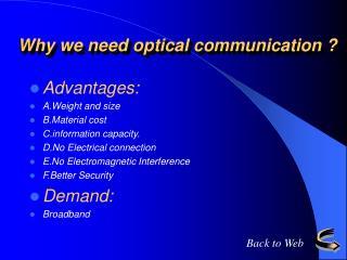 Why we need optical communication ?