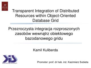 Transparent Integration of Distributed Resources within Object-Oriented Database Grid