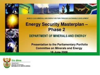 Energy Security Masterplan � Phase 2