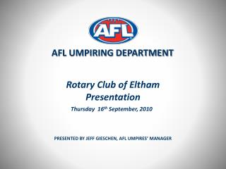 Rotary Club of Eltham Presentation
