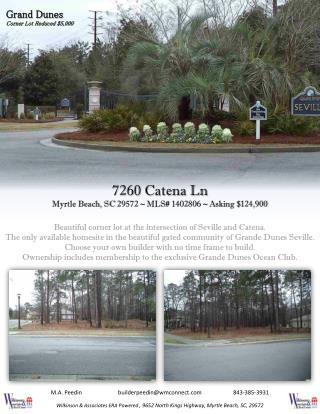 7260 Catena Ln Myrtle Beach, SC  29572  ~ MLS#  1402806 ~  Asking  $ 124,900
