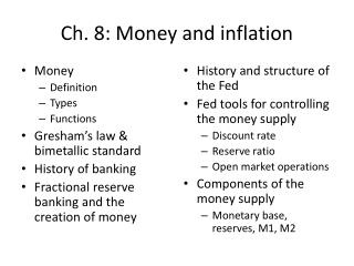 Ch. 8: Money and inflation