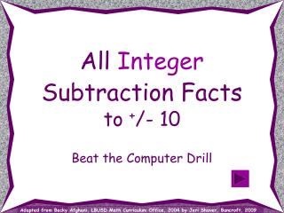 All Integer Subtraction Facts to