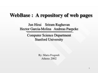 WebBase :  A repository of web pages
