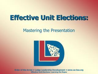 Effective Unit Elections: