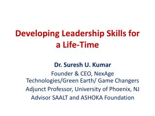 Developing Leadership Skills for a Life-Time