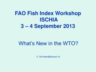 FAO Fish Index Workshop  ISCHIA  3 – 4 September 2013
