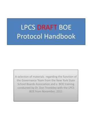 LPCS  DRAFT  BOE Protocol Handbook