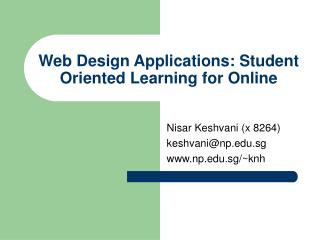 Web Design Applications: Student Oriented Learning for Online