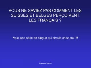 VOUS NE SAVIEZ PAS COMMENT LES SUISSES ET BELGES PERÇOIVENT LES FRANÇAIS ?