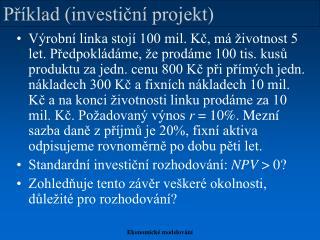 Příklad (investiční projekt)