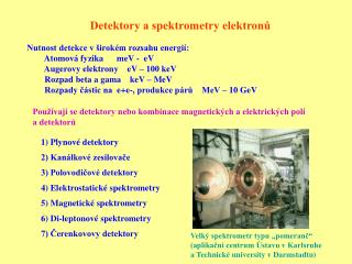 Detektory a spektrometry elektronů