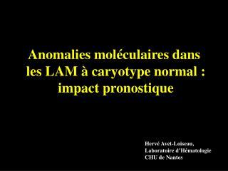 Anomalies mol�culaires dans  les LAM � caryotype normal : impact pronostique