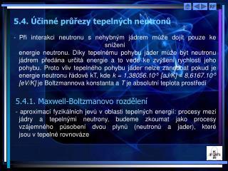 5.4. Účinné průřezy tepelných neutronů