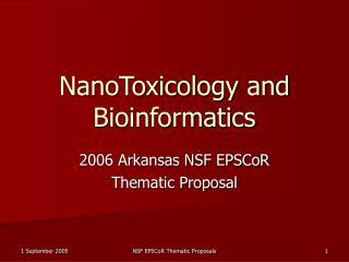 NanoToxicology and Bioinformatics