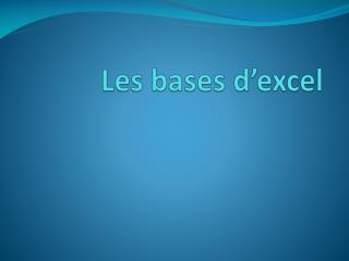 Les bases d� excel
