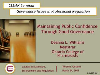 Maintaining Public Confidence Through Good Governance