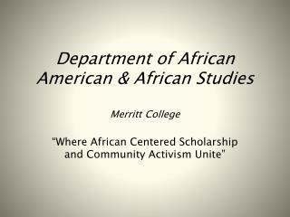 African American & African Studies
