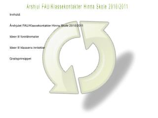 Årshjul FAU/Klassekontakter Hinna Skole 2010/2011