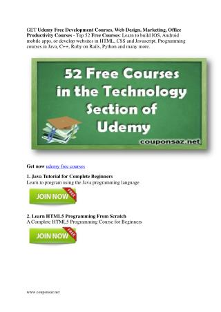 Free Development Courses, Web Design, Marketing, Office Prod