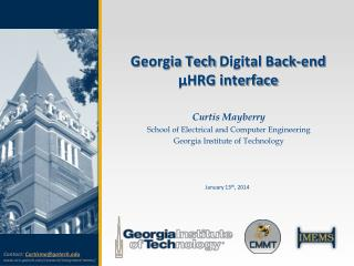 Georgia Tech  Digital Back-end �HRG interface