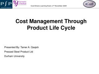 Cost Management Through Product Life Cycle