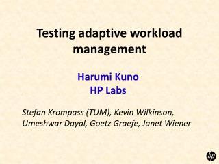 Testing adaptive workload management