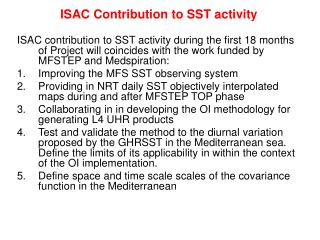 ISAC Contribution to SST activity