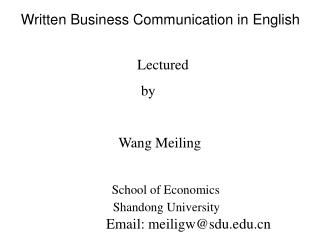 Written Business Communication in English