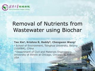 Removal of Nutrients from Wastewater using Biochar