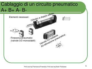 Cablaggio di un circuito pneumatico A+ B+ A- B-