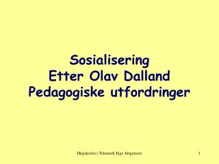 Sosialisering Etter Olav Dalland Pedagogiske utfordringer