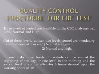 Quality control procedure  for CBC test